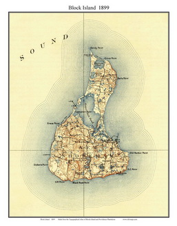 Old Topographical Map of Block Island