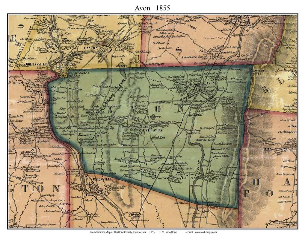 Hartford County CT Single Map Reprints