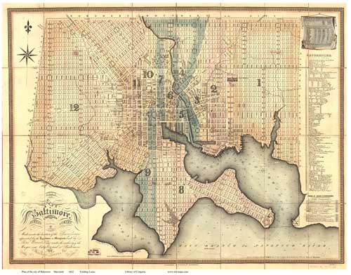 Map of Baltimore MD, 1822