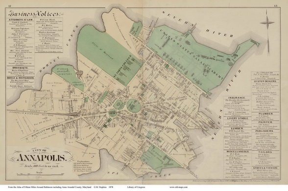 Map of the City of Annapolis, Maryland  1878