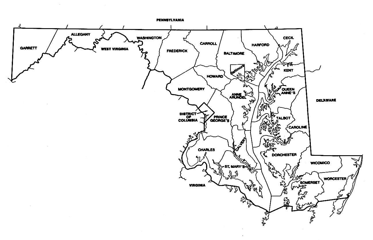 Maryland County Outline Map