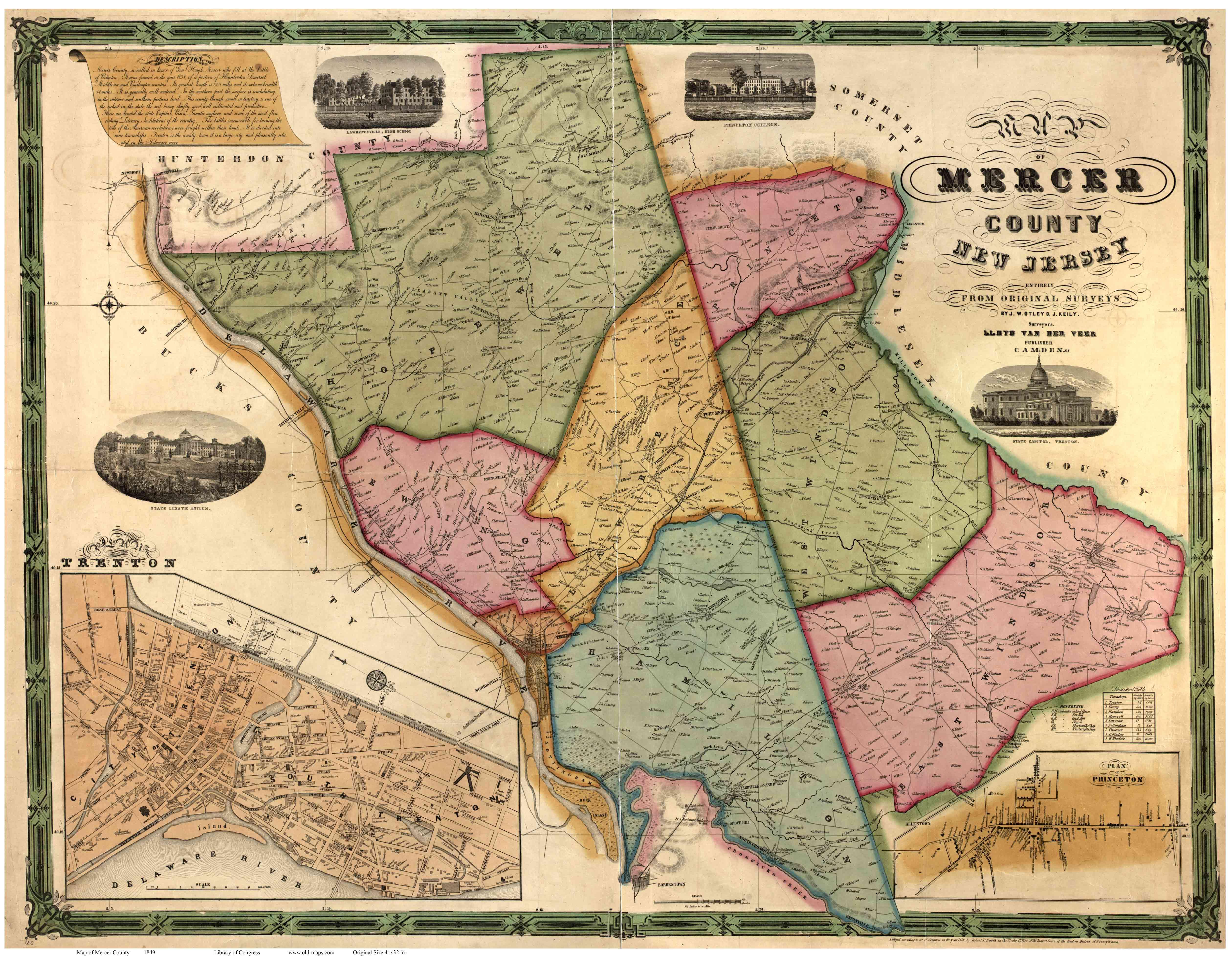 MercerCo NJ Wall Map